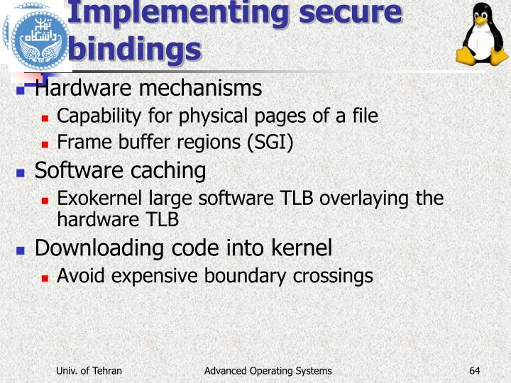 Implementing secure bindings