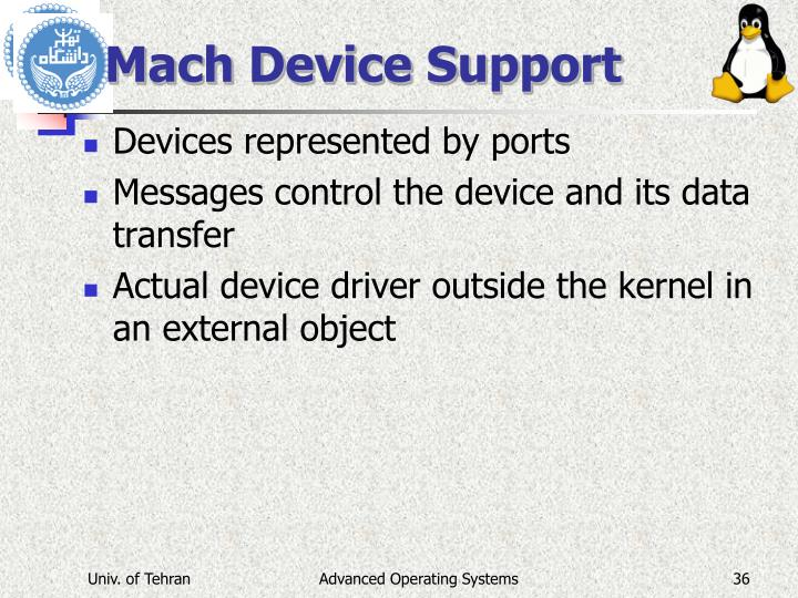 Mach Device Support
