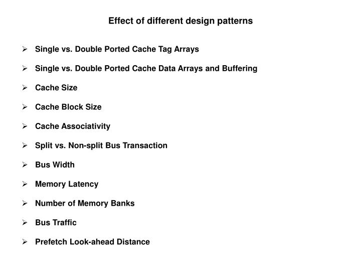Effect of different design patterns