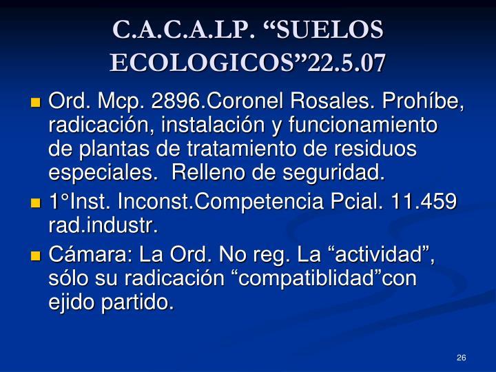 """C.A.C.A.LP. """"SUELOS ECOLOGICOS""""22.5.07"""
