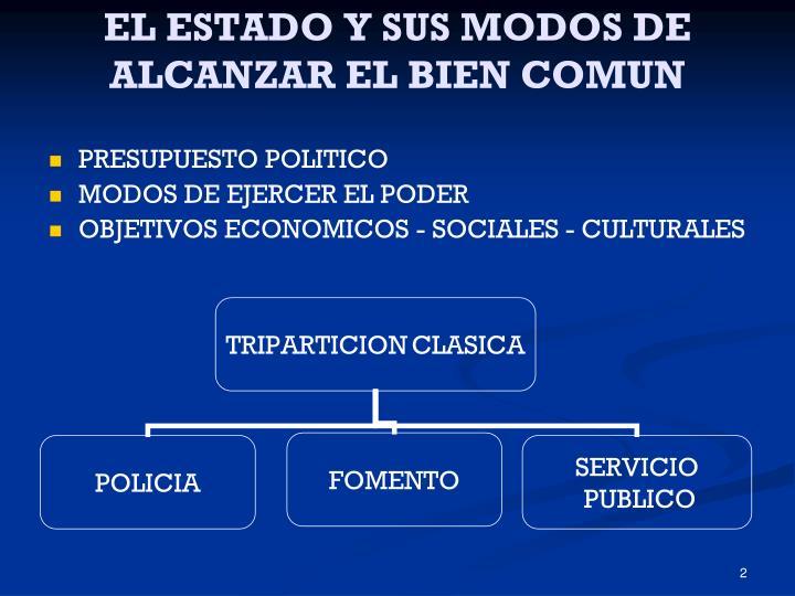 EL ESTADO Y SUS MODOS DE ALCANZAR EL BIEN COMUN