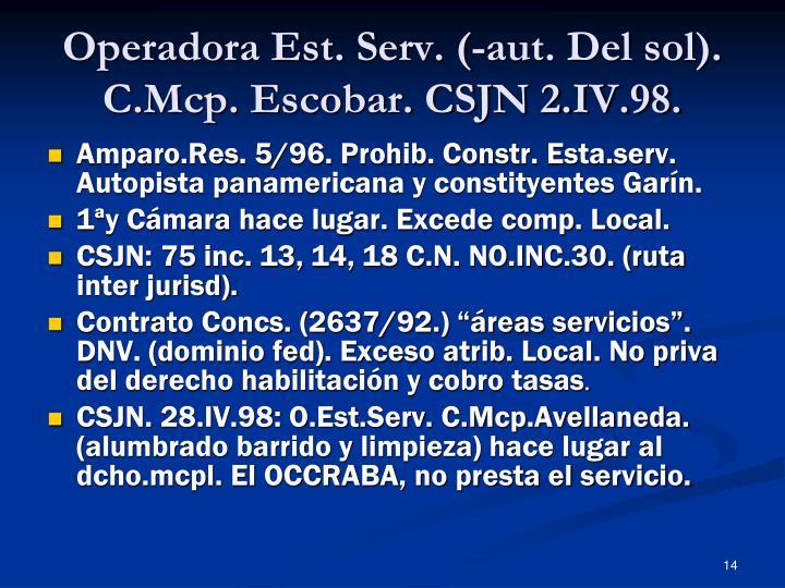 Operadora Est. Serv. (-aut. Del sol). C.Mcp. Escobar. CSJN 2.IV.98.