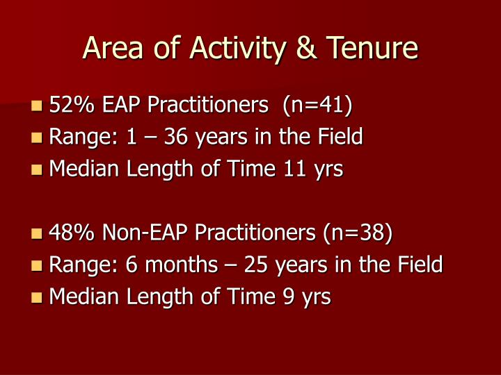 Area of Activity & Tenure