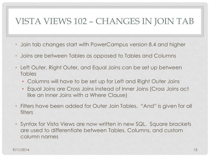 Vista Views 102 – Changes In Join Tab
