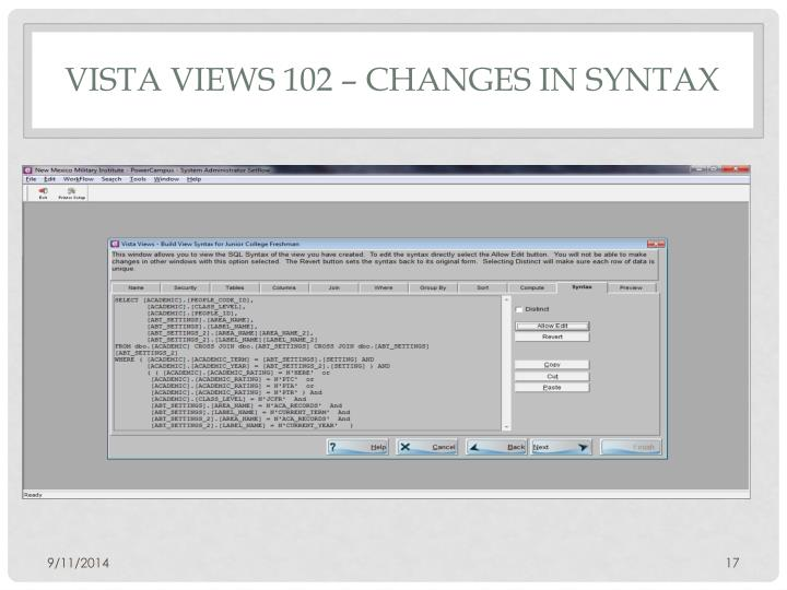 Vista Views 102 – Changes In Syntax