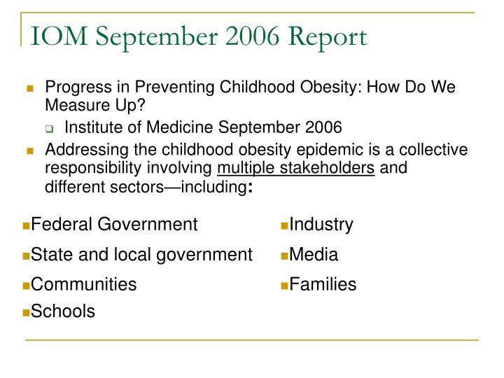 IOM September 2006 Report