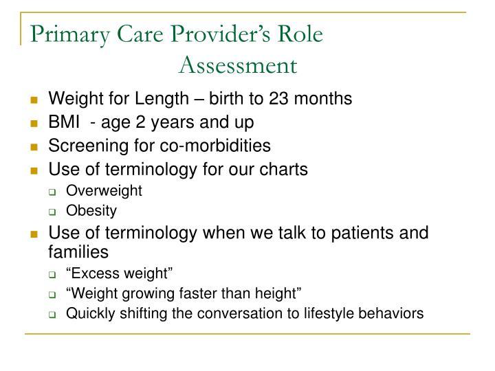 Primary Care Provider's Role