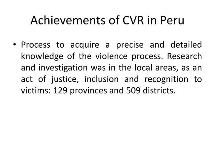 Achievements of CVR in Peru