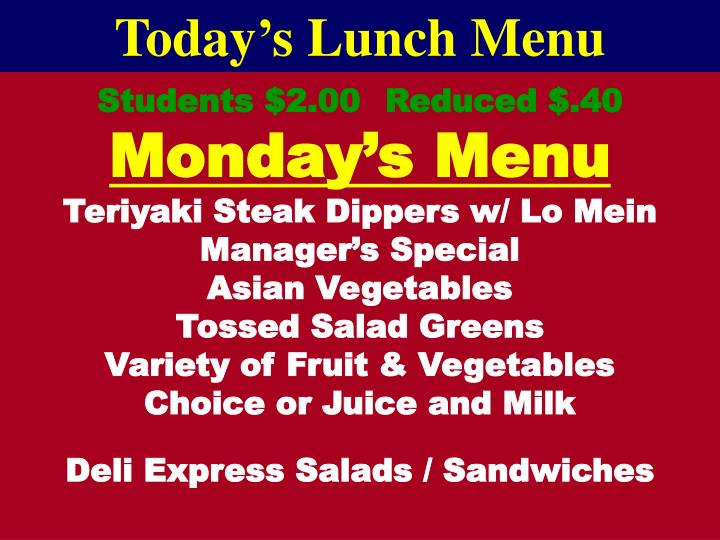 Today's Lunch Menu