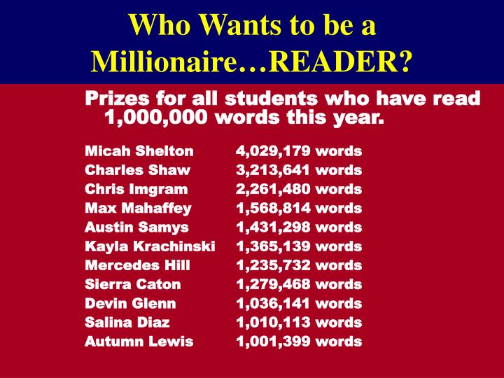 Who Wants to be a Millionaire…READER?