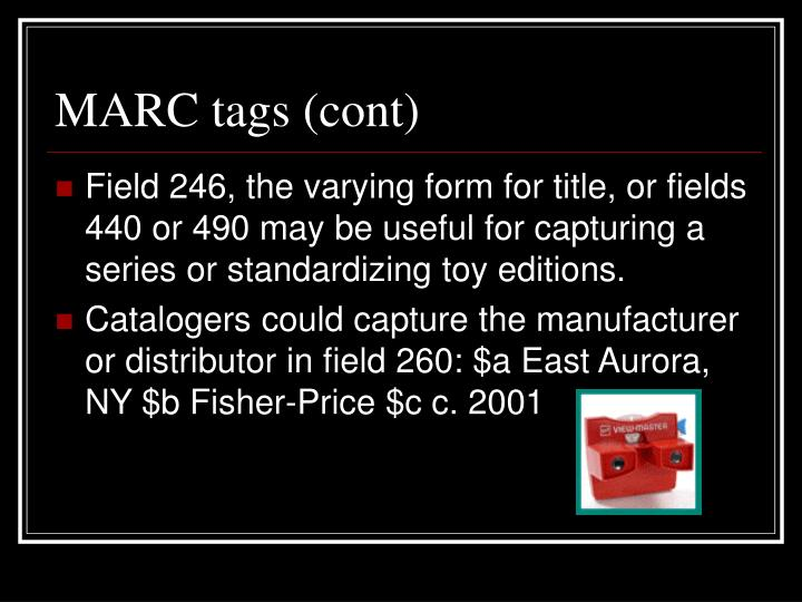 MARC tags (cont)