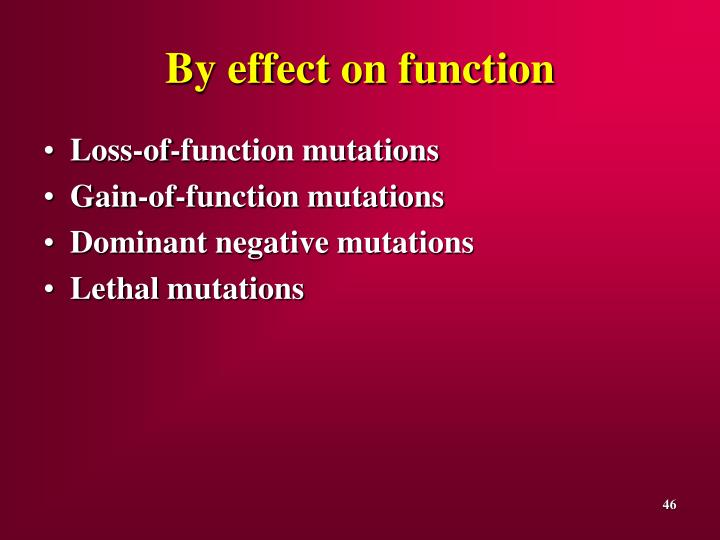 By effect on function