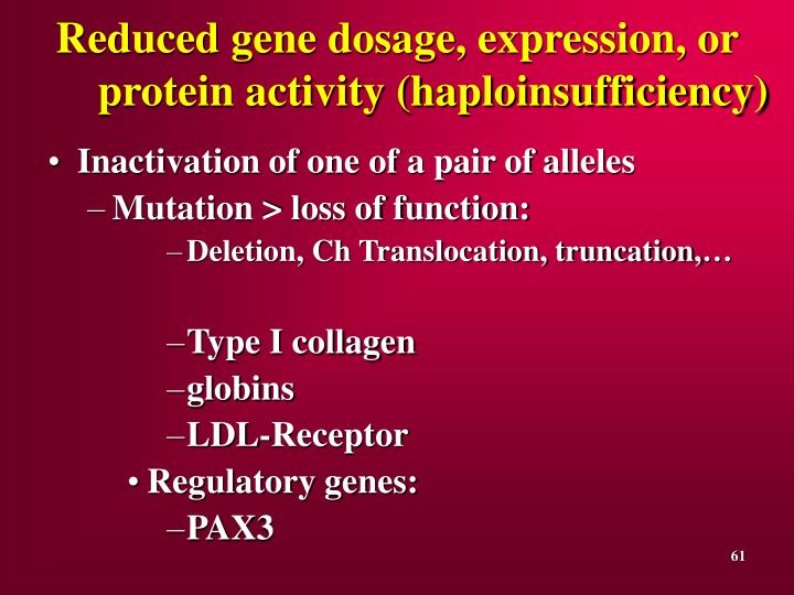 Reduced gene dosage, expression, or protein activity (haploinsufficiency)