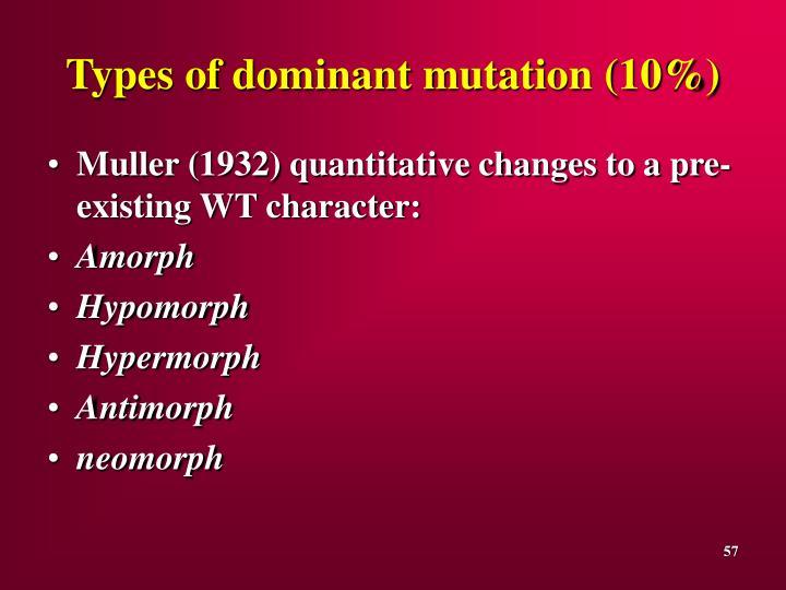 Types of dominant mutation (10%)