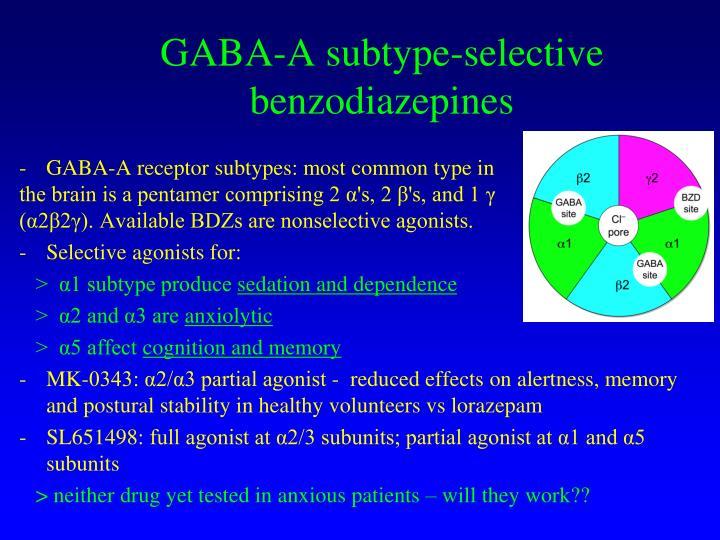 GABA-A subtype-selective benzodiazepines