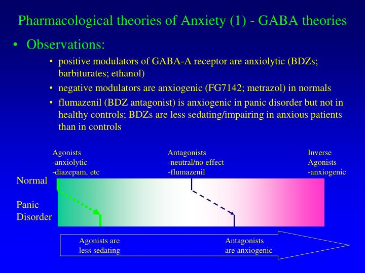 Pharmacological theories of Anxiety (1) - GABA theories