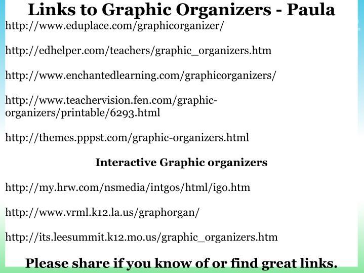 Links to Graphic Organizers - Paula