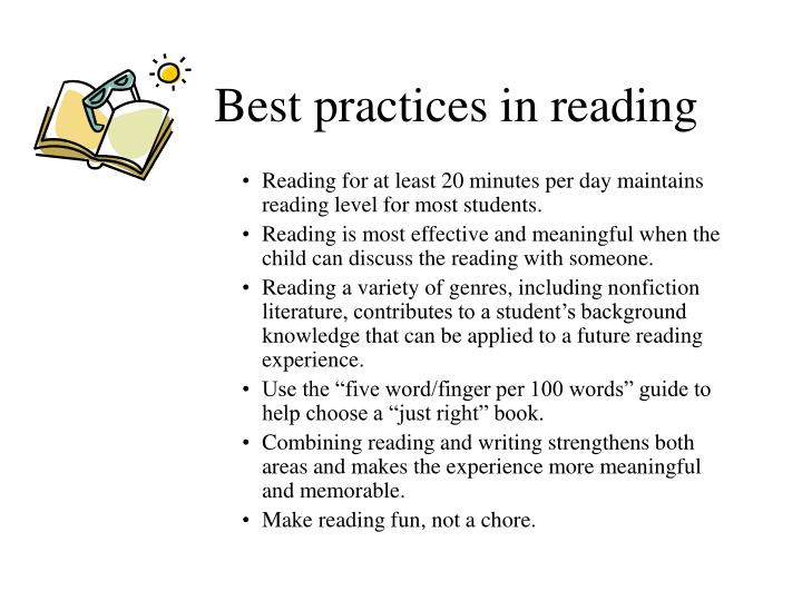 Best practices in reading