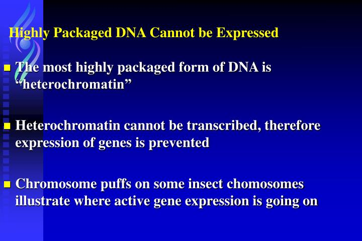 Highly Packaged DNA Cannot be Expressed
