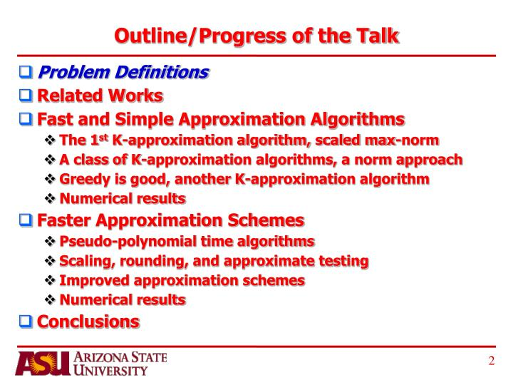 Outline progress of the talk