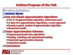 outline progress of the talk1