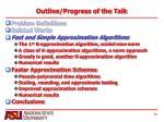 outline progress of the talk2