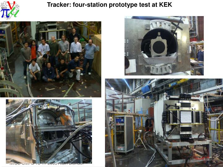 Tracker: four-station prototype test at KEK