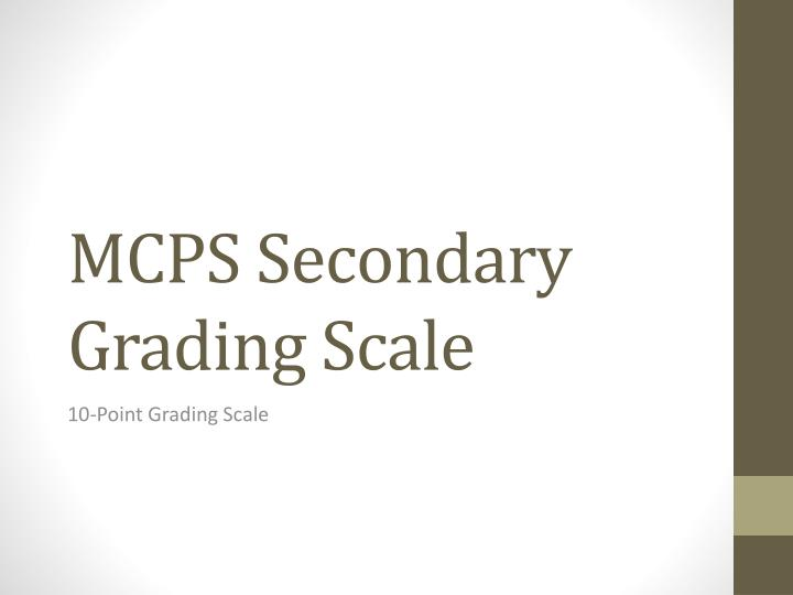 mcps secondary grading scale