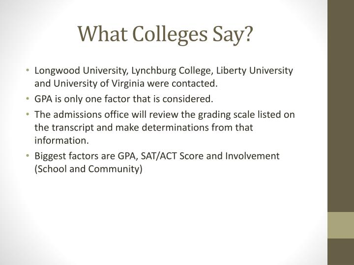 What Colleges Say?