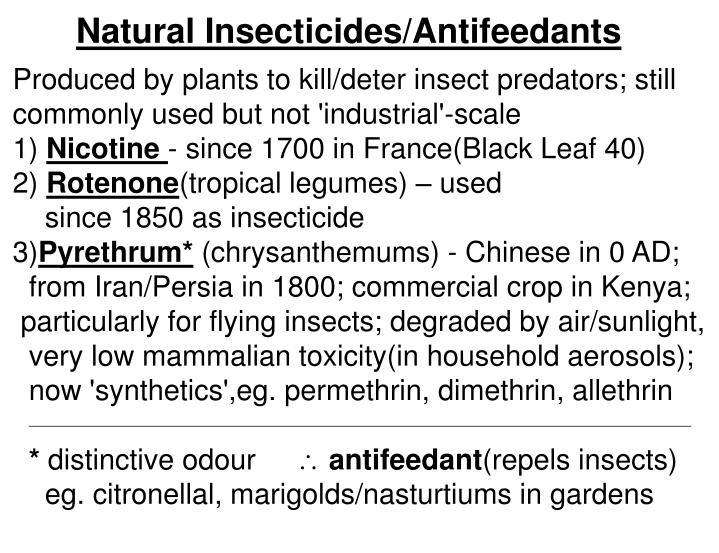 Natural Insecticides/Antifeedants