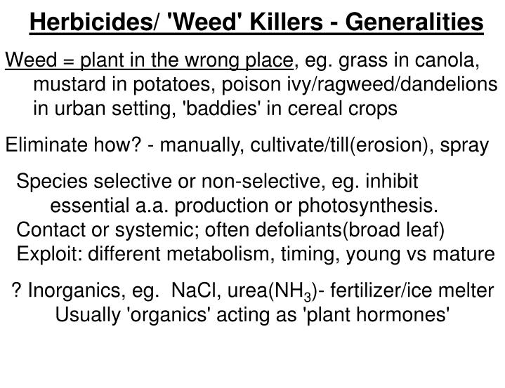 Herbicides/ 'Weed' Killers - Generalities