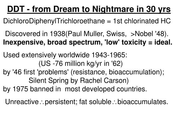 DDT - from Dream to Nightmare in 30 yrs