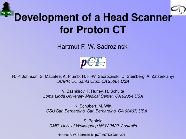 Development of a head scanner for proton ct