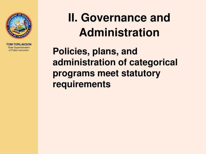 II. Governance and Administration