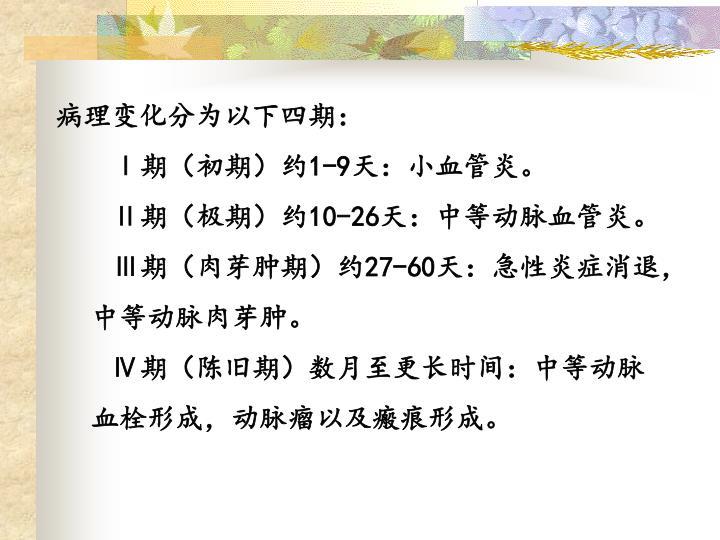 病理变化分为以下四期: