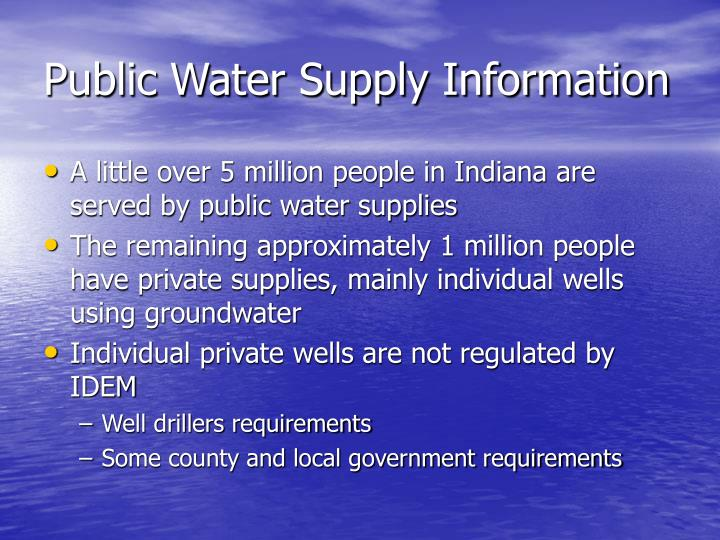 Public Water Supply Information