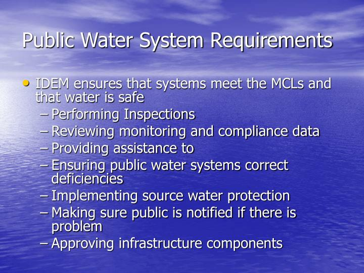 Public Water System Requirements