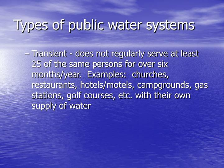 Types of public water systems
