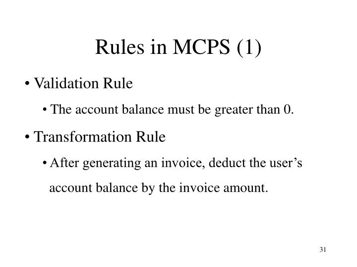 Rules in MCPS (1)