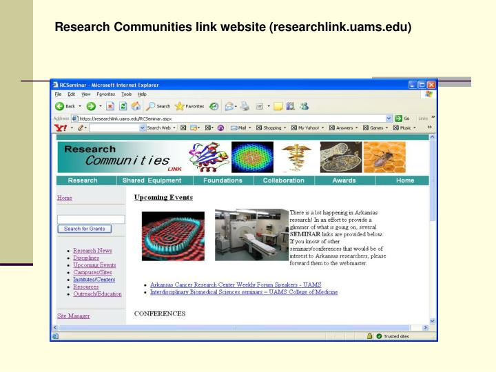 Research Communities link website (researchlink.uams.edu)