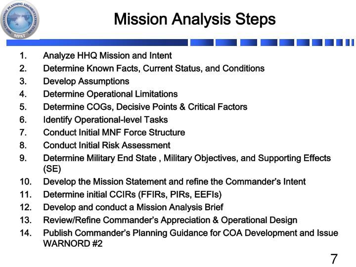 Mission Analysis Steps