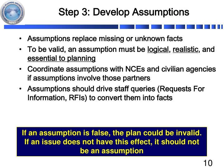 Step 3: Develop Assumptions