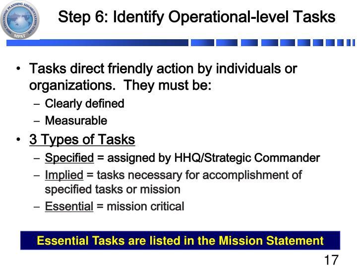 Step 6: Identify Operational-level Tasks