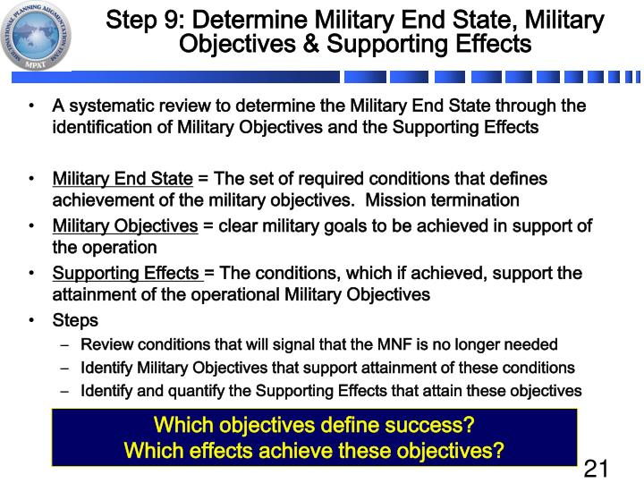 Step 9: Determine Military End State, Military Objectives & Supporting Effects
