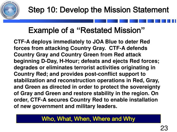 Step 10: Develop the Mission Statement