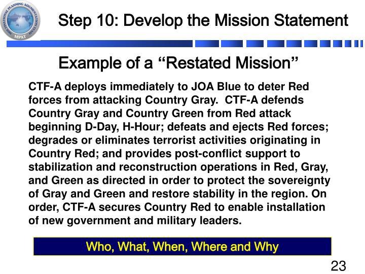 Step 10: Develop the Mission Statement