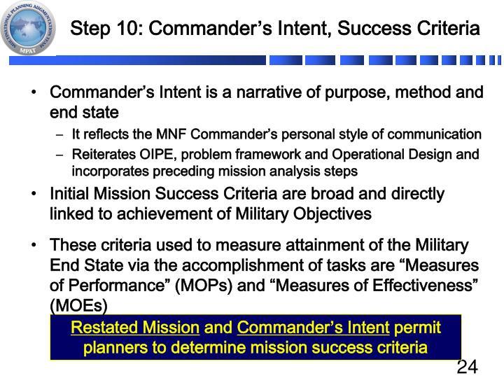 Step 10: Commander
