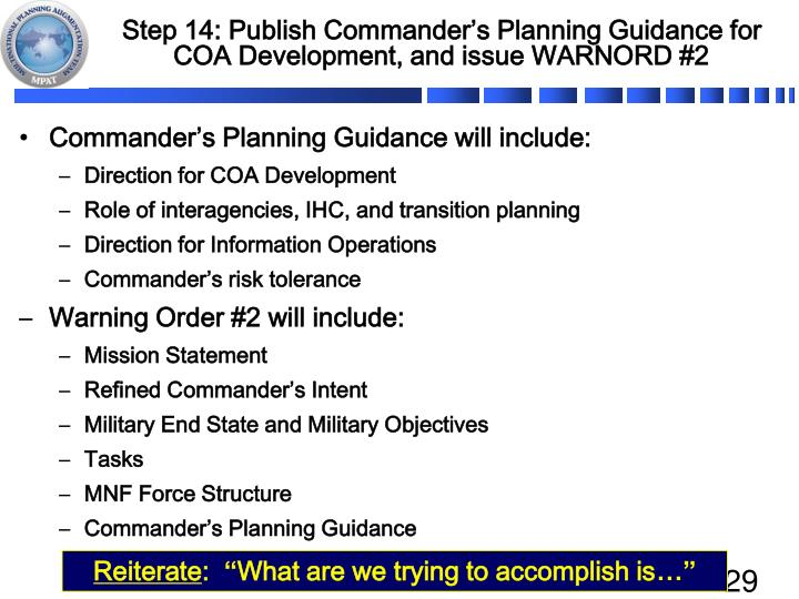 Step 14: Publish Commander's Planning Guidance for COA Development, and issue WARNORD #2