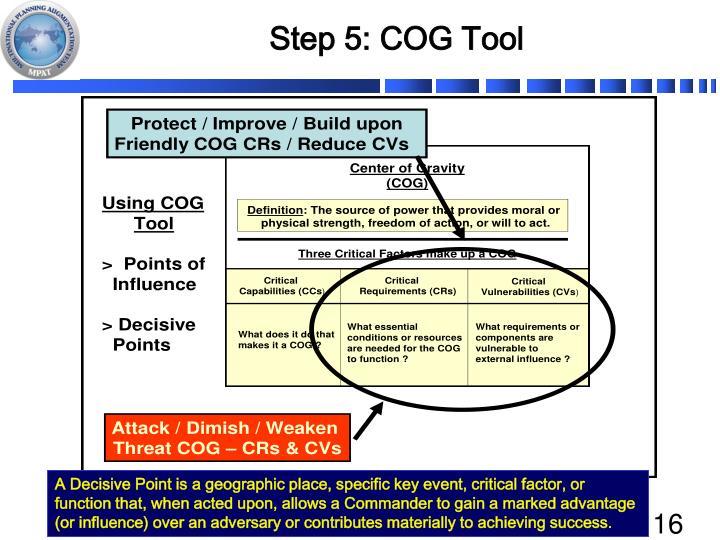 Step 5: COG Tool