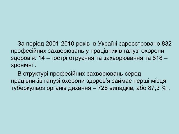 За період 2001-2010 років  в Україні зареєстровано 832 професійних захворювань у працівників галузі охорони здоров'я: 14 – гострі отруєння та захворювання та 818 – хронічні .
